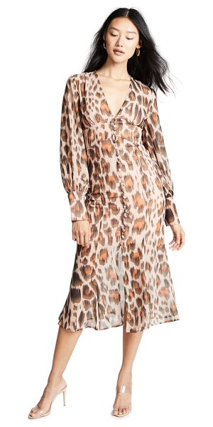 C/Meo Collective sweet thing dress in nude leopard - Fabric: Georgette Covered shank buttons Slit at front...