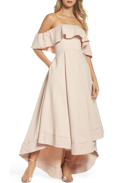 C/Meo Collective temptation off the shoulder ballgown in blush - A romantic ruffle softly waves over the off-the-shoulder...