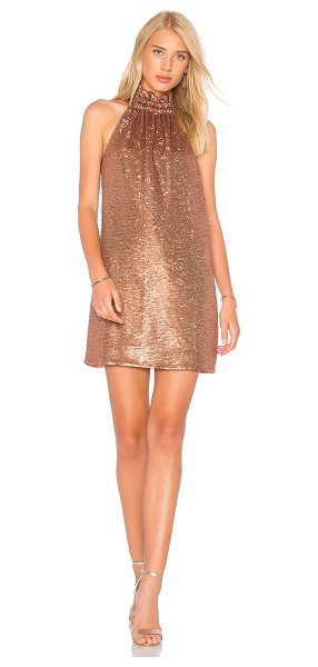 C/MEO Illuminated Mini Dress in metallic copper - Self & Lining: 100% poly. Hand wash cold. Fully lined....