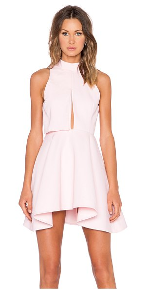 C/MEO New way dress in pink - 100% poly. Hand wash cold. Partially lined. Back cut-out...