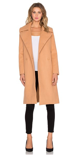C/MEO No limit coat in tan - 88% poly 10% rayon 2% elastane. Dry clean only. Front...