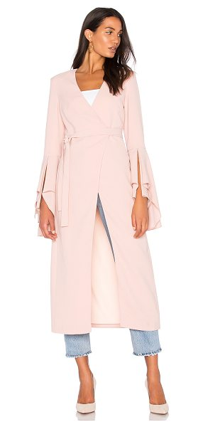 C/MEO Still Standing Trench in pink - Rayon blend. Dry clean only. Textured fabric. Wrap front...