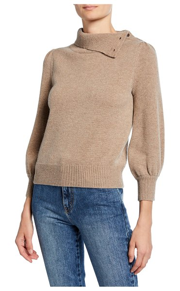Co. Cashmere Convertible Poet-Sleeve Sweater in beige