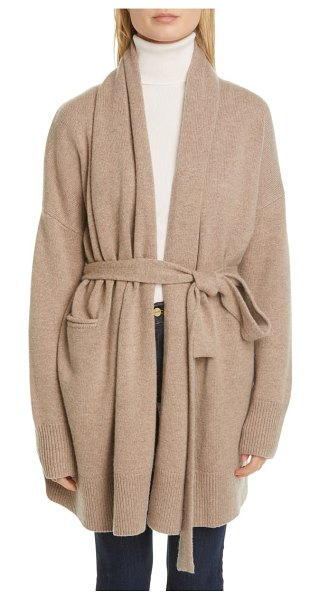 Co. essentials wool & cashmere long belted cardigan in beige