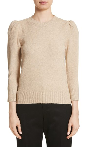 Co. metallic knit puff sleeve sweater in camel - Flecked with metallic threads for an understated sheen,...