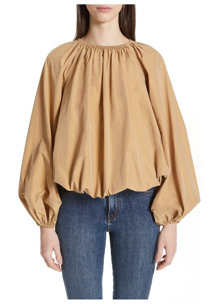 Co. parachute top in beige - Gathered at the neckline, cuffs and hem, this crisp...