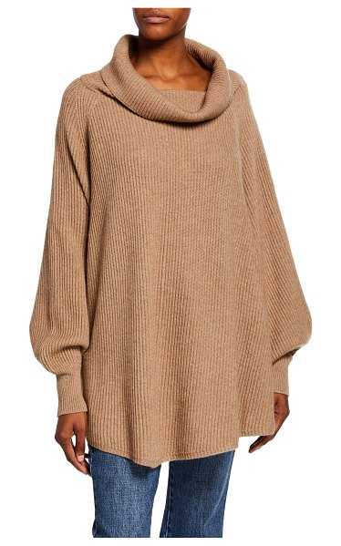 Co. Ribbed Cowl-Neck Cape-Back Sweater in taupe