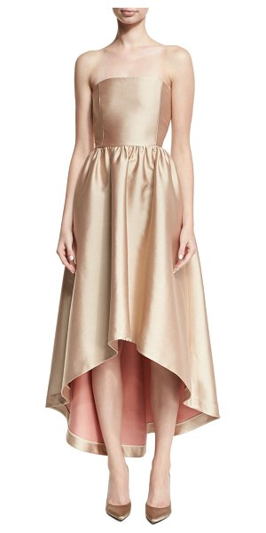 Co. Strapless Satin High-Low Cocktail Dress in pink - Co cocktail dress in lustrous satin with visible...