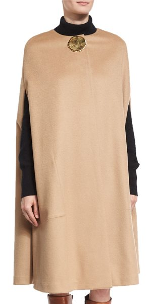 Co. Textured Flannel Cape with Lunar Embellishment in camel - Co cape in textured flannel with golden metal...