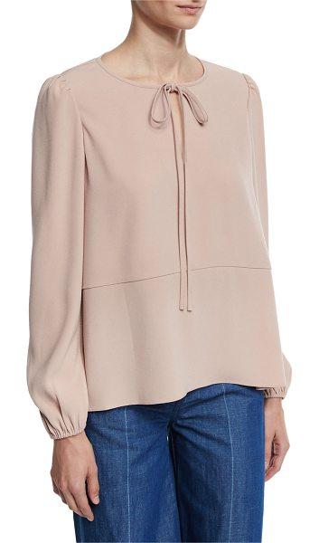 Co. Tie-Neck Crepe Blouse in blush - Co blouse in Japanese crepe. Self-tie round neckline;...