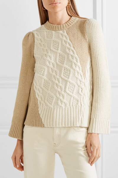 Co. two-tone cable-knit alpaca-blend sweater in cream