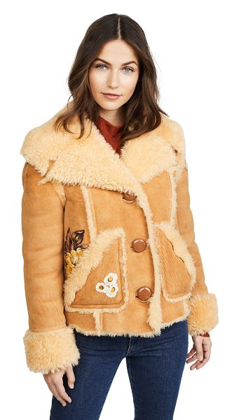 COACH 1941 eagle raggedy shearling jacket in toffee - This cozy shearling Coach 1941 jacket has a luxe, yet...