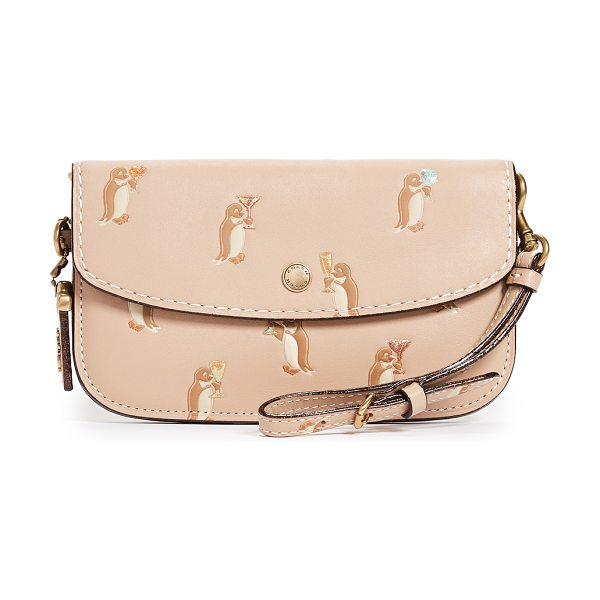 COACH 1941 penguin print clutch in beechwood - Leather: Cowhide Glitter edges Snap at front Zip...