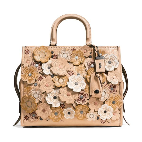 COACH 1941 tea rose applique leather rogue bag in beige - From the 1941 collection. Intricate tea rose appliques...