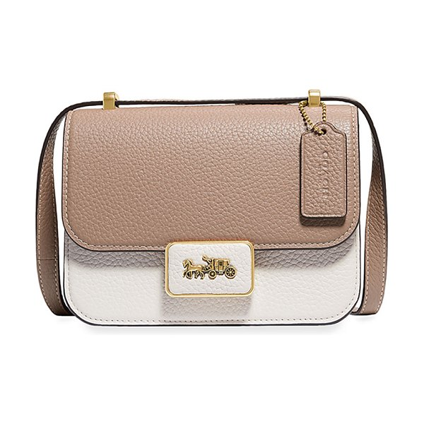 COACH Alie 18 Colorblock Leather Shoulder Bag in taupe multi