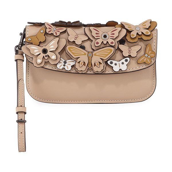 COACH Butterfly Large Wristlet Clutch Bag in beachwood - EXCLUSIVELY AT NEIMAN MARCUS Coach 1941 leather clutch...
