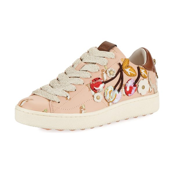 COACH C101 Cherries Patches Platform Sneakers in light pink - Coach leather sneaker with sequined and embroidered...