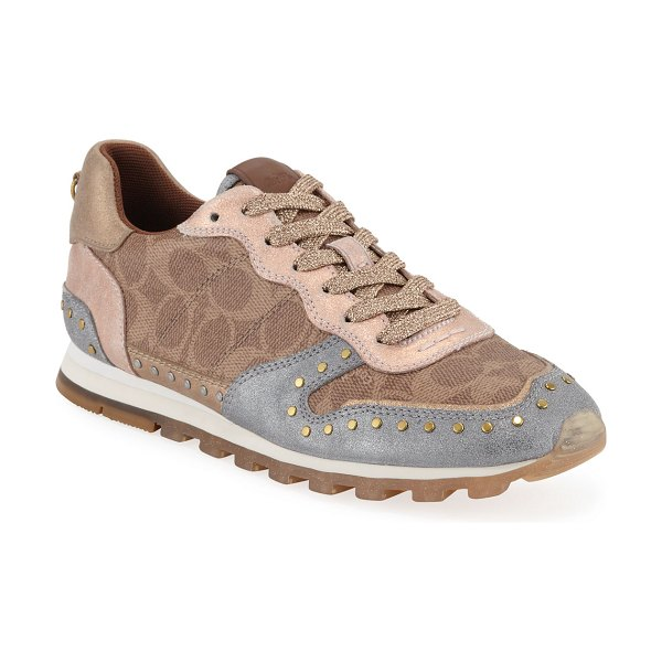 COACH C118 Metallic Lace-Up Trainer Sneakers in brown