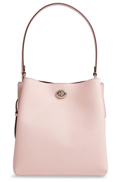 COACH charlie leather bucket bag in pink - A clean-lined design beautifully plays up the pebbled...