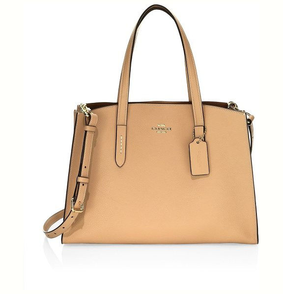 COACH charlie pebbled leather carryall satchel in beechwood - A study in everyday style, the Charlie Carryall is...
