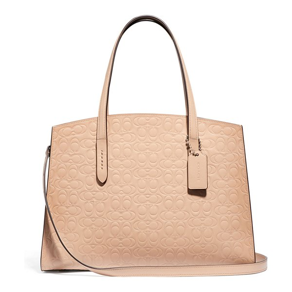 COACH Charlie Signature Carryall Satchel Bag in beige