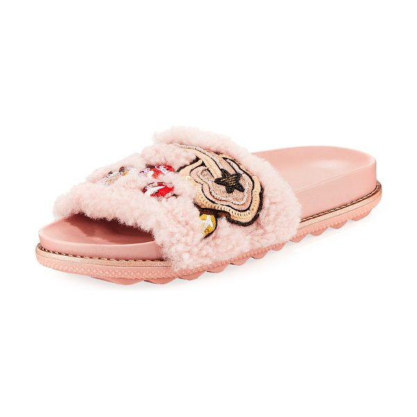 COACH Cherries and Shearling Slide Sandal in peony - Coach leather sandal with dyed sheep shearling (China)...