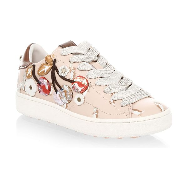 COACH cherry leather fashion sneakers in light pink - Padded leather sneakers with adorable 3D patches....