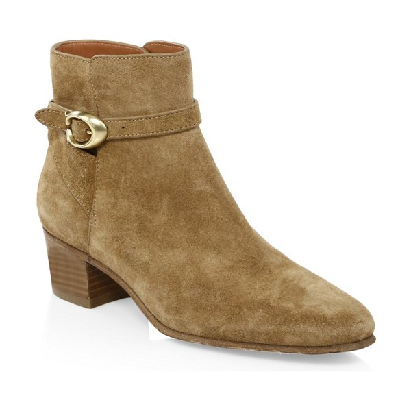 COACH chrystie buckle suede booties in peanut - From The Chrystie Collection. Western-inspired ankle...