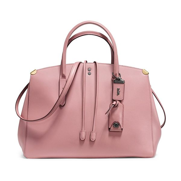COACH cooper carryall leather tote bag in pink - Travel-ready leather bag with hanging logo charm. Double...