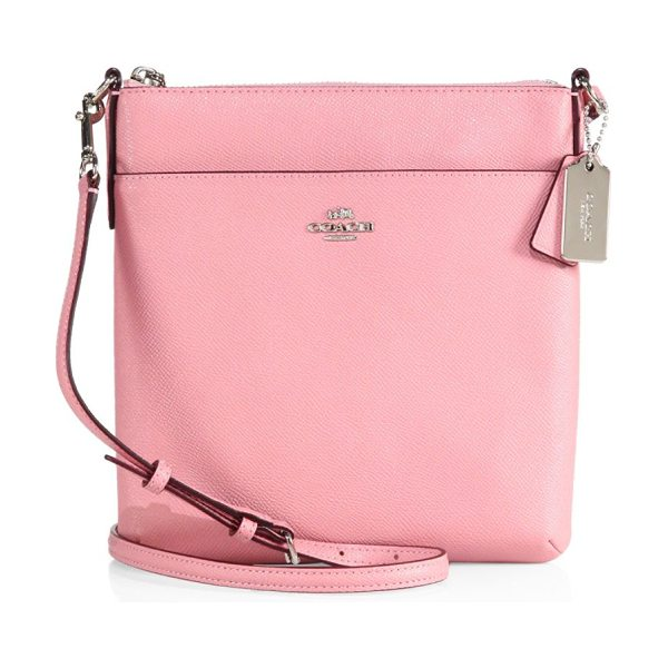 COACH courier grosgrain leather crossbody bag in pink - Easy carry crossbody bag made from grosgrain leather....