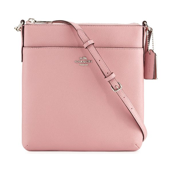 COACH Courier Leather Crossbody Bag in pink - Coach textured leather crossbody bag. Silvertone...