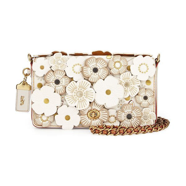 COACH Dinky Small Floral Crossbody Bag in chalk - Coach 1941 glovetanned leather crossbody with floral...