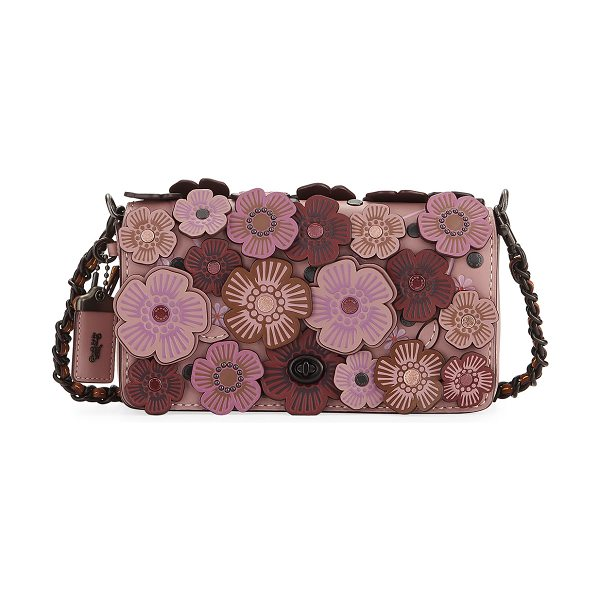 COACH Dinky Tea Rose Crossbody Bag in dusty rose - Coach 1941 leather crossbody with floral appliqu....