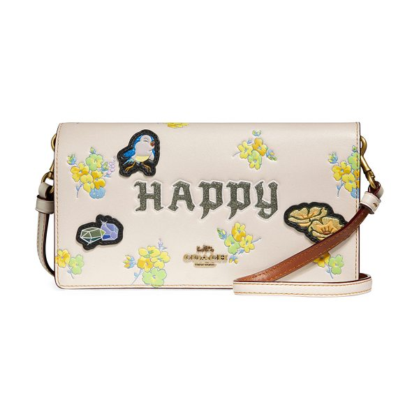 COACH DISNEY X COACH Happy Fold-Over Crossbody Clutch Bag in chalk - Coach 1941 crossbody clutch bag from the Disney x Coach:...