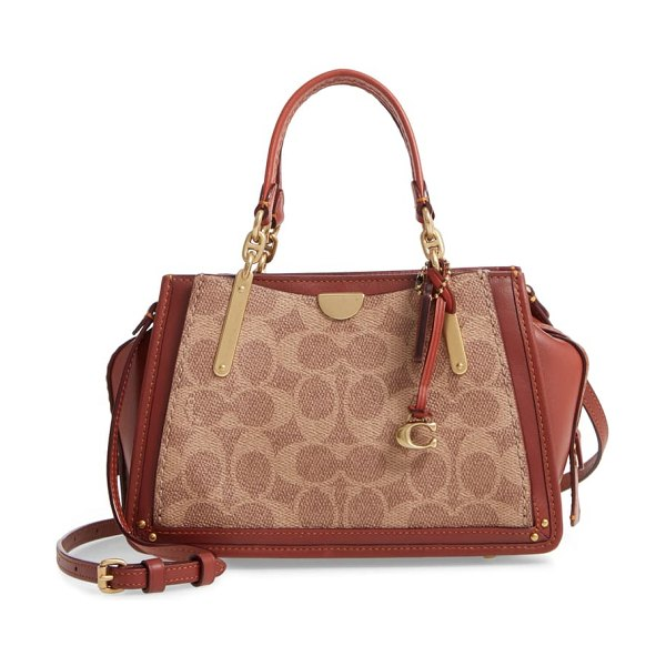 COACH dreamer 21 signature canvas & leather satchel in brown