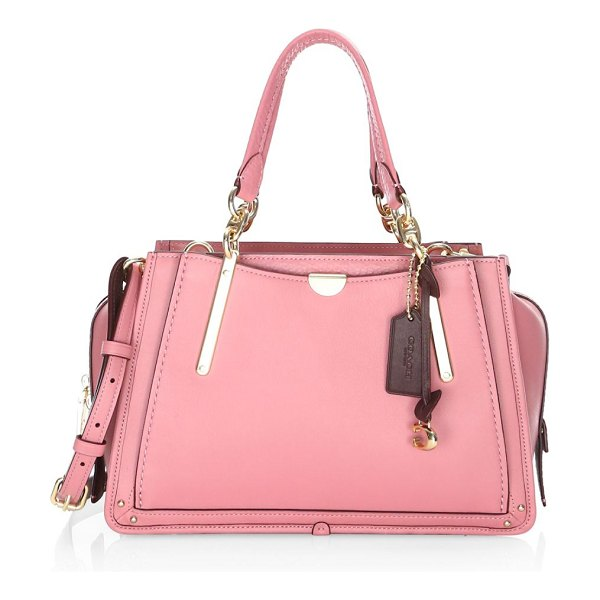 COACH dreamer leather top handle bag in pink - Classic smooth grain leather top handle bag elevated...