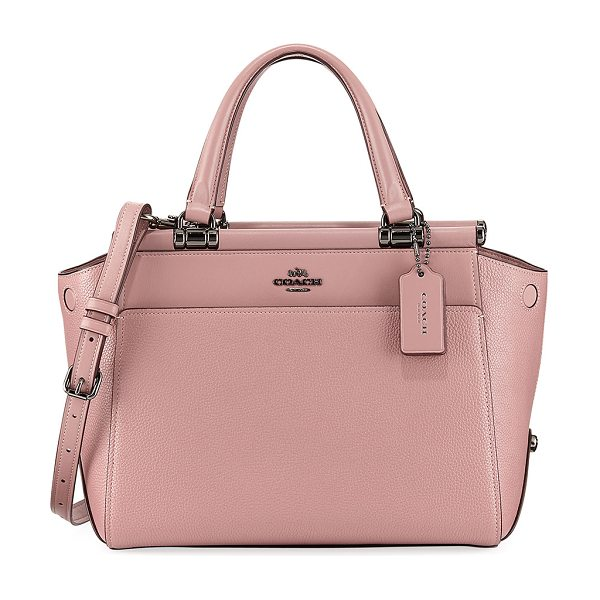 COACH Drifter Mixed Leather Top-Handle Bag in dark pink - Coach satchel bag in mixed smooth and pebbled leather...