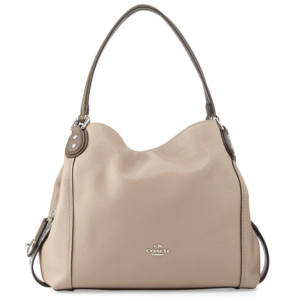 COACH Edie 31 Snakeskin-Trim Shoulder Bag in beige - Coach pebbled leather shoulder bag with snakeskin trim....