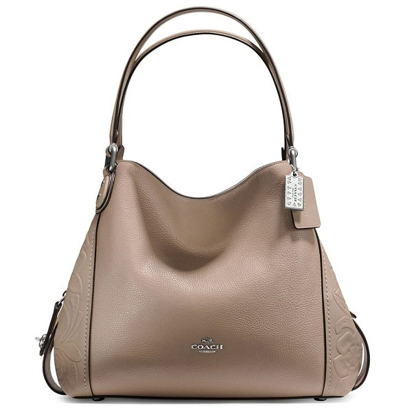 COACH edie tooled leather hobo bag in stone - From the Novelty Leather collection. Leather hobo bag...