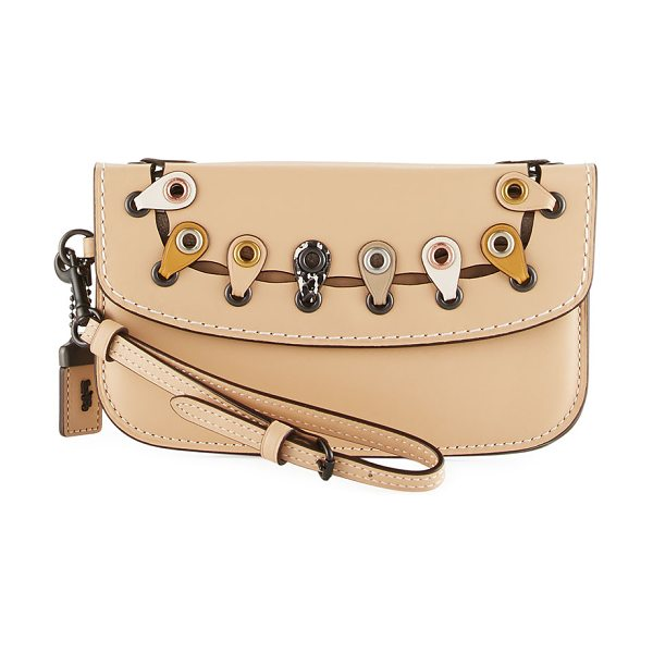 COACH Exotic Linked Leather Clutch Bag in tan - Coach 1941 smooth leather clutch bag with snakeskin link...