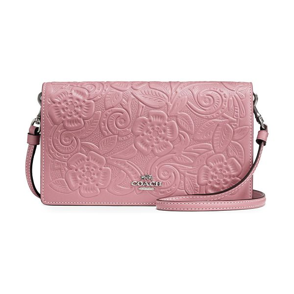 COACH floral leather clutch in dusty rose - From the Novelty Leather collection. Chic leather clutch...