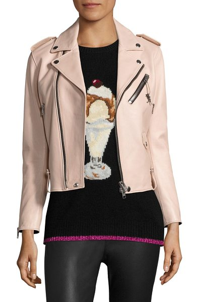 COACH icon leather moto jacket in powder pink - Classic leather moto jacket with dinosaur charm....