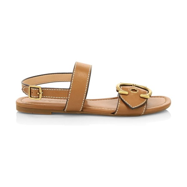 COACH jen c buckle leather sandals in saddle