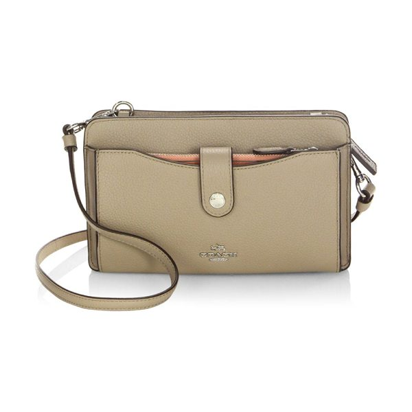 COACH leather crossbody bag in stone - Multifunctional leather bag in pebbled finish. Removable...