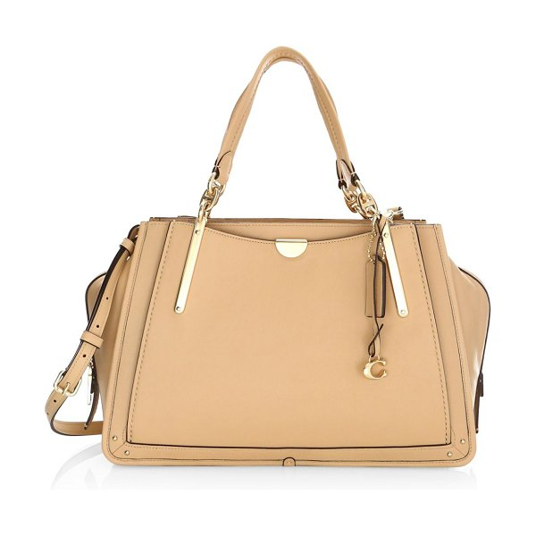 COACH dreamer leather top handle bag in nude - Classic smooth grain leather handbag elevated with...