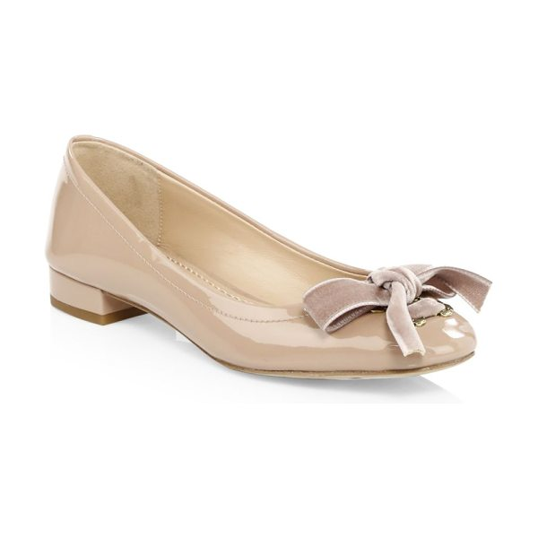 COACH lia velvet bow patent leather flats in blush - From The Lia Collection. Pretty ballerina flat accented...