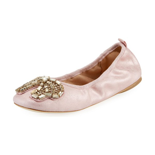 COACH Margot Crystal-Bow Ballet Flats in metallic rose - Coach dusted suede ballerina flats with crystal bow....
