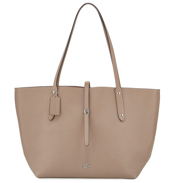 COACH Market Pebbled Leather Tote Bag in beige - Coach polished, pebbled leather tote bag with bandana...
