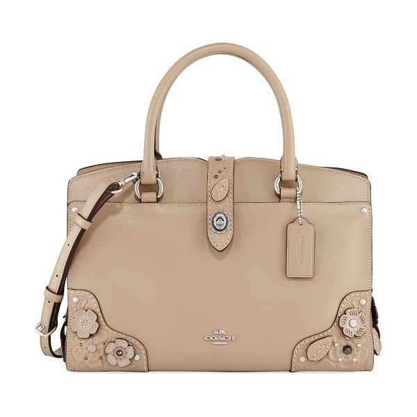 COACH Mercer 30 Tea Rose Tooling Handbag in stone multi - Coach leather handbag with floral appliqus. Rolled top...