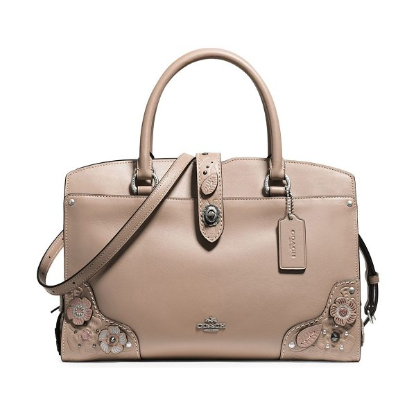 COACH mercer leather satchel in beige - From the Novelty Leather collection. Leather satchel...